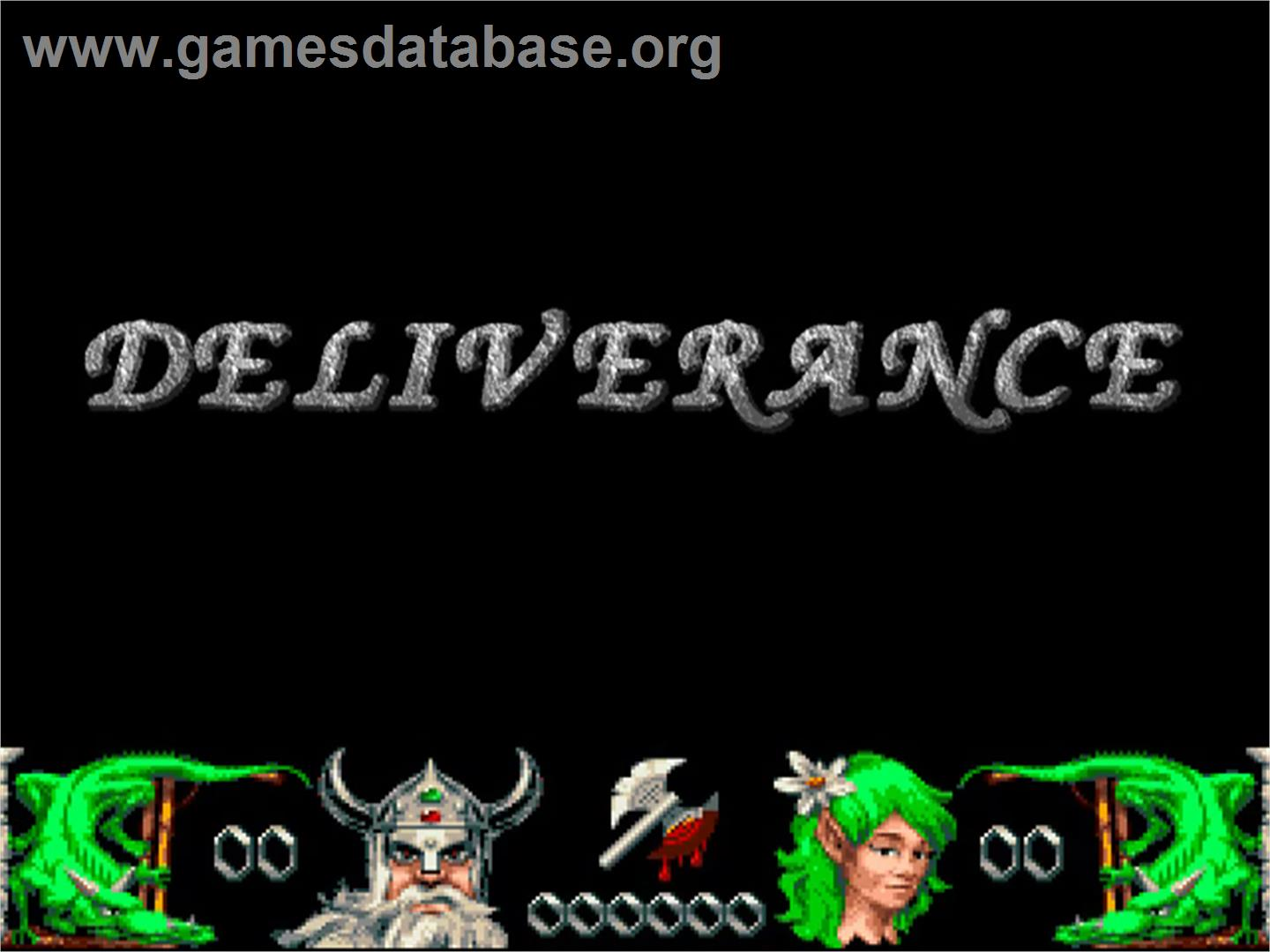 Title screen of Deliverance: Stormlord 2 on the Commodore Amiga.