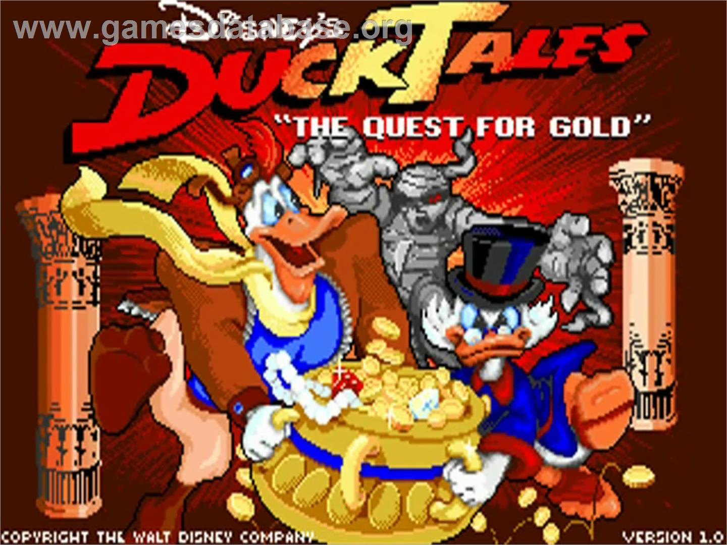 Duck Tales: The Quest for Gold - Commodore Amiga - Artwork - Title Screen
