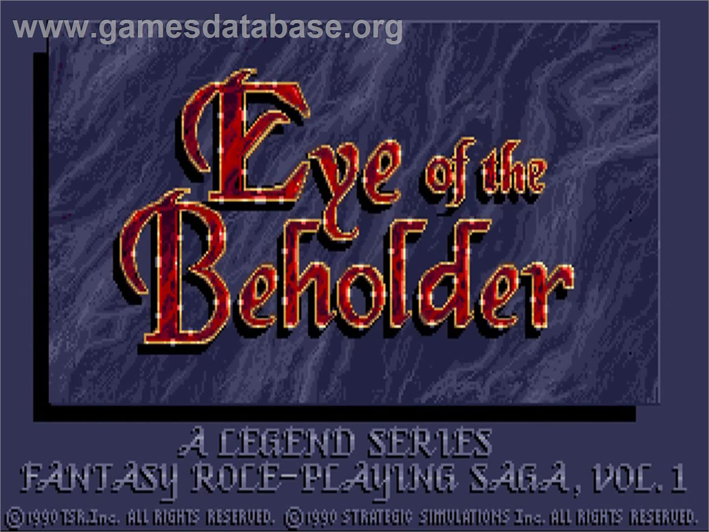 Title screen of Eye of the Beholder on the Commodore Amiga.