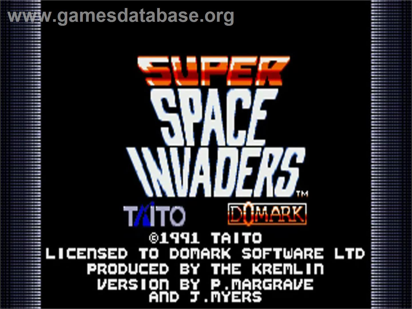 Title screen of Super Space Invaders on the Commodore Amiga.