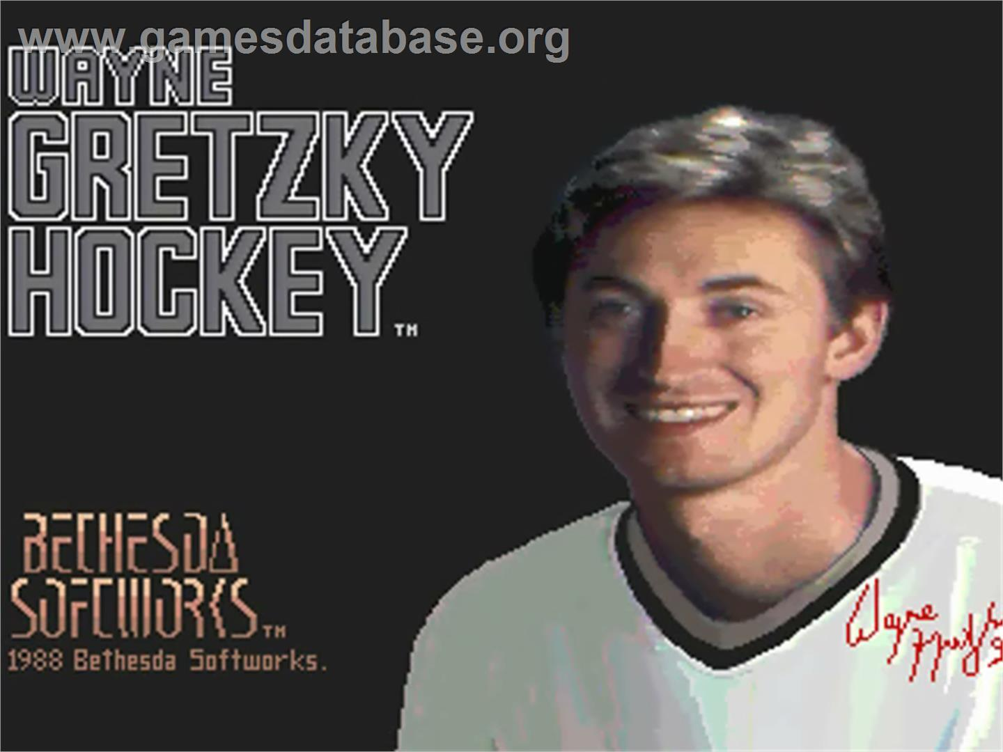 Title screen of Wayne Gretzky Hockey on the Commodore Amiga.