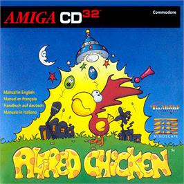 Box cover for Alfred Chicken on the Commodore Amiga CD32.