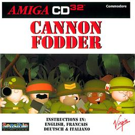 Box cover for Cannon Fodder on the Commodore Amiga CD32.
