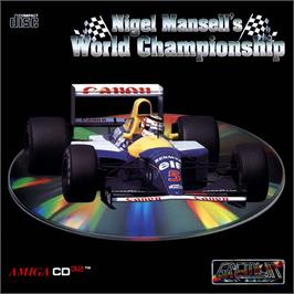 Box cover for Nigel Mansell's World Championship on the Commodore Amiga CD32.