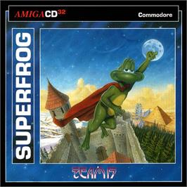 Box cover for Super Frog on the Commodore Amiga CD32.