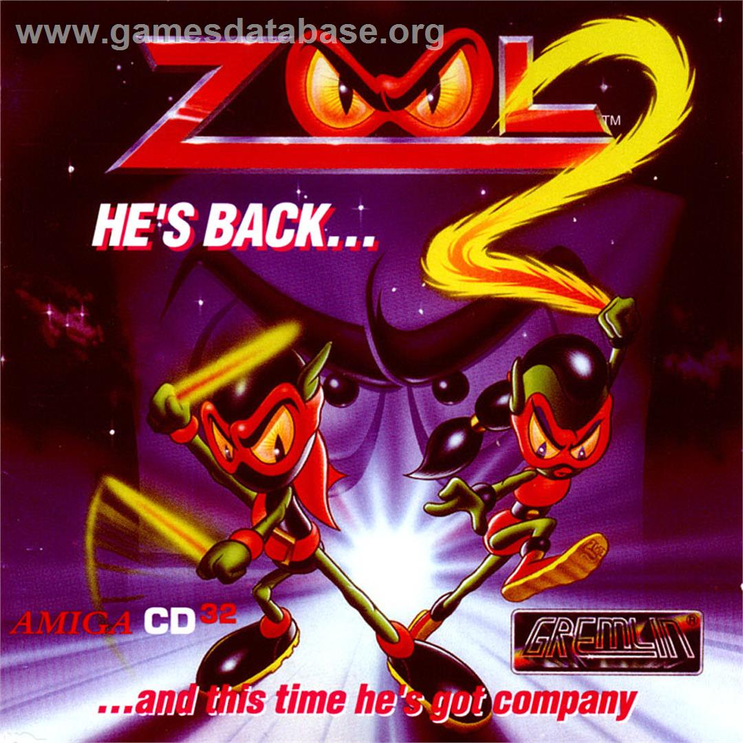 Box cover for Zool 2 on the Commodore Amiga CD32.