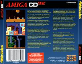 Box back cover for Alfred Chicken on the Commodore Amiga CD32.