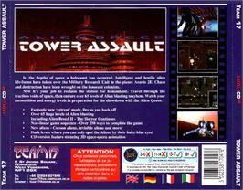Box back cover for Alien Breed: Tower Assault on the Commodore Amiga CD32.
