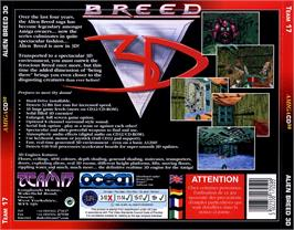 Box back cover for Alien Breed 3D on the Commodore Amiga CD32.