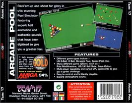 Box back cover for Arcade Pool on the Commodore Amiga CD32.