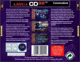 Box back cover for Banshee on the Commodore Amiga CD32.
