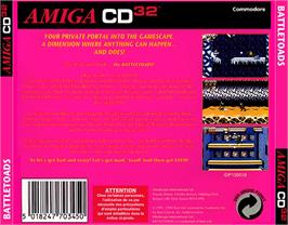 Box back cover for Battle Toads on the Commodore Amiga CD32.