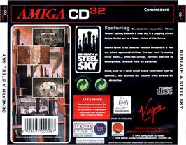Box back cover for Beneath a Steel Sky on the Commodore Amiga CD32.