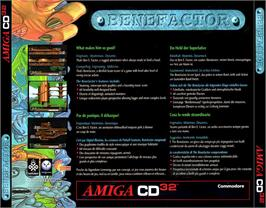 Box back cover for Benefactor on the Commodore Amiga CD32.