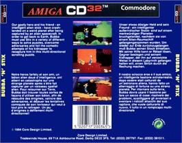 Box back cover for Bubba 'n' Stix on the Commodore Amiga CD32.