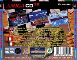 Box back cover for Bump 'n' Burn on the Commodore Amiga CD32.