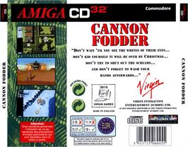Box back cover for Cannon Fodder on the Commodore Amiga CD32.