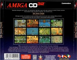 Box back cover for Chaos Engine on the Commodore Amiga CD32.
