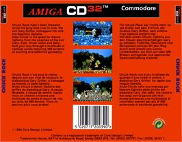 Box back cover for Chuck Rock on the Commodore Amiga CD32.