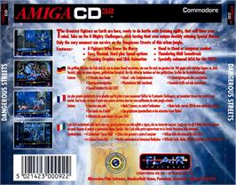 Box back cover for Dangerous Streets on the Commodore Amiga CD32.