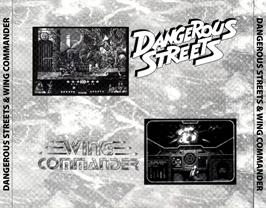 Box back cover for Dangerous Streets & Wing Commander on the Commodore Amiga CD32.