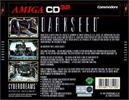 Box back cover for Dark Seed on the Commodore Amiga CD32.