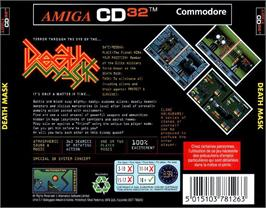 Box back cover for Death Mask on the Commodore Amiga CD32.