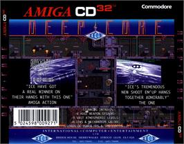 Box back cover for Deep Core on the Commodore Amiga CD32.