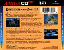 Box back cover for Defender of the Crown 2 on the Commodore Amiga CD32.