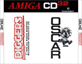 Box back cover for Diggers & Oscar on the Commodore Amiga CD32.