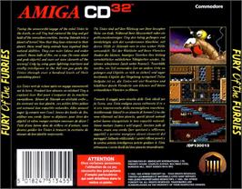 Box back cover for Fury of the Furries on the Commodore Amiga CD32.