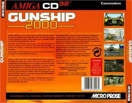 Box back cover for Gunship 2000 on the Commodore Amiga CD32.