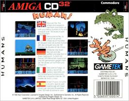 Box back cover for Humans 1 and 2 on the Commodore Amiga CD32.