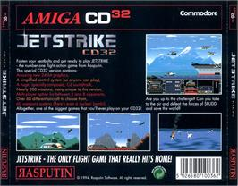 Box back cover for Jet Strike on the Commodore Amiga CD32.