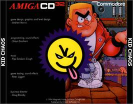 Box back cover for Kid Chaos on the Commodore Amiga CD32.