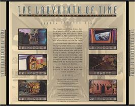Box back cover for Labyrinth of Time on the Commodore Amiga CD32.