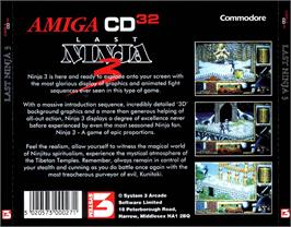 Box back cover for Last Ninja 3 on the Commodore Amiga CD32.