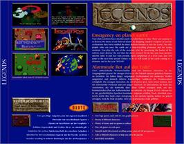 Box back cover for Legends on the Commodore Amiga CD32.