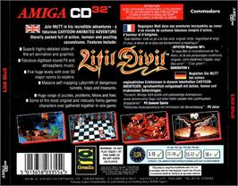 Box back cover for Litil Divil on the Commodore Amiga CD32.