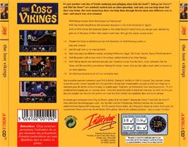 Box back cover for Lost Vikings on the Commodore Amiga CD32.