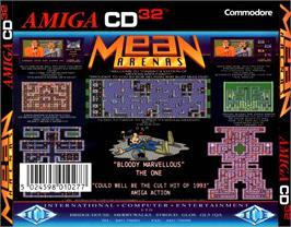 Box back cover for Mean Arenas on the Commodore Amiga CD32.