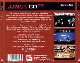 Box back cover for Myth: History in the Making on the Commodore Amiga CD32.