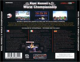 Box back cover for Nigel Mansell's World Championship on the Commodore Amiga CD32.