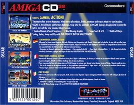 Box back cover for Oscar on the Commodore Amiga CD32.