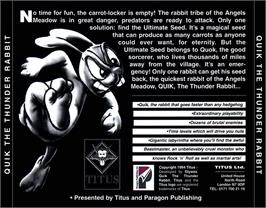 Box back cover for Quik the Thunder Rabbit on the Commodore Amiga CD32.