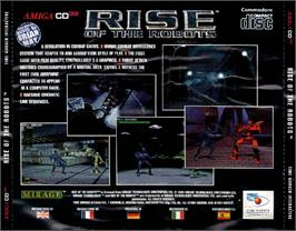 Box back cover for Rise of the Robots on the Commodore Amiga CD32.