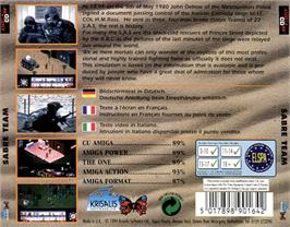 Box back cover for Sabre Team on the Commodore Amiga CD32.