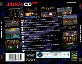 Box back cover for Shadow Fighter on the Commodore Amiga CD32.