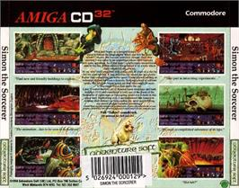 Box back cover for Simon the Sorcerer on the Commodore Amiga CD32.
