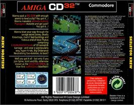 Box back cover for Skeleton Krew on the Commodore Amiga CD32.